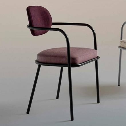 Vintage design stoel met armleuningen in staal en gekleurde stof - Ula