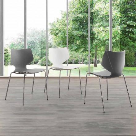 Modern design chromen stoel met Messina onderstel