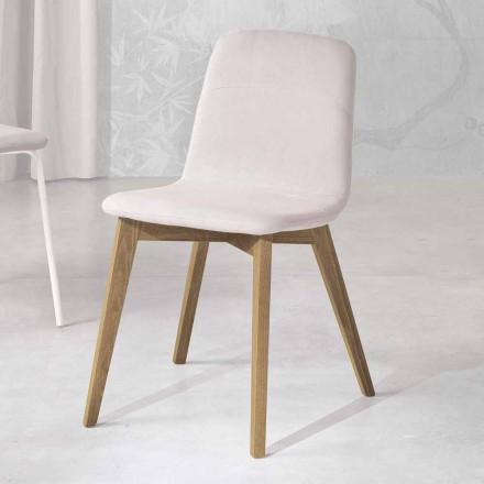 Designstoel in hout en stof voor keuken gemaakt in Italië, Egizia