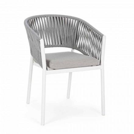 Buitenstoel met armleuningen in wit en grijs aluminium Homemotion - Rubio