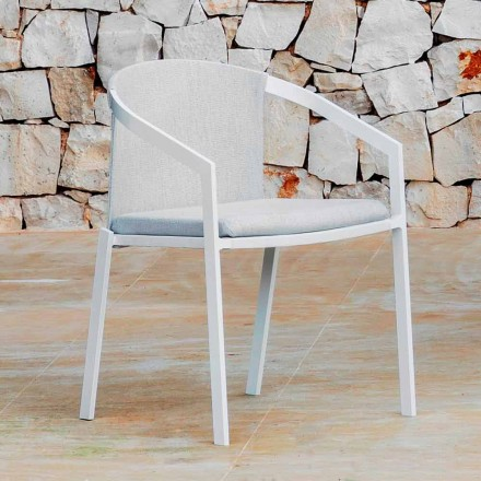 Aluminium tuinstoel met of zonder kussen, hoge kwaliteit, 4 stuks - Filomena