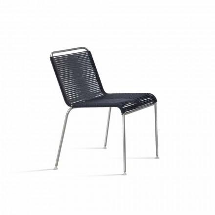 Design buitenstoel in staal en koord Made in Italy - Madagascar 1