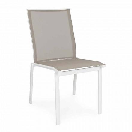 Stapelbare buitenstoel in aluminium en textileen, Homemotion 4-delig - Serge