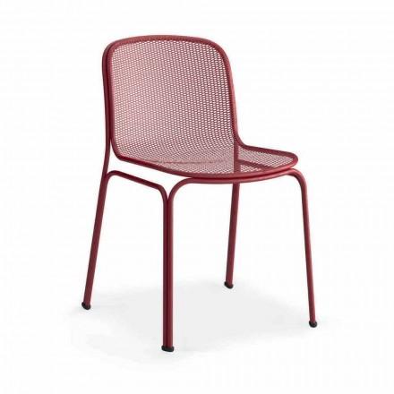 Stapelbare metalen stoel voor buiten gemaakt in Italië, 4 stuks - Prunella