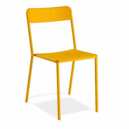 Stapelbare metalen stoel voor buiten gemaakt in Italië, 4 stuks - Xylia