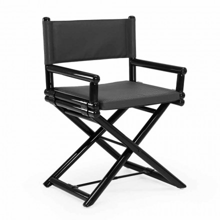 Buitenstoel in natuurlijk hout of zwart en hersluitbare designstof - Suzana