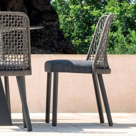 Buitenstoel Varaschin Emma in stof en aluminium ontwerp
