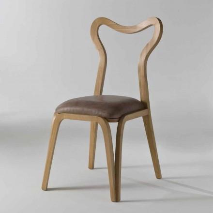 houten en lederen eetkamerstoel modern design, l.41xp.46 cm, Carol