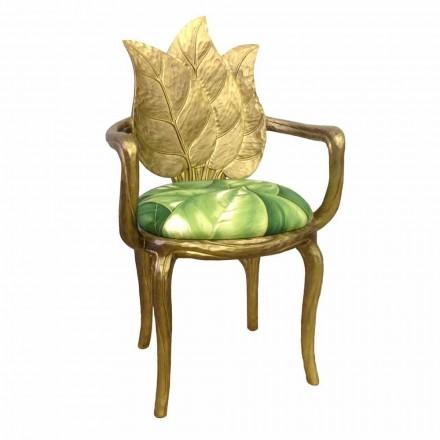 Chair gevoerde lunch modern design goud, gemaakt in Italië, Daniel