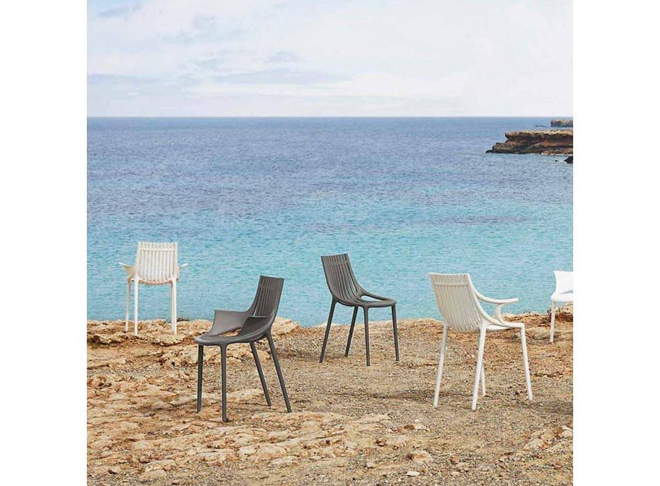 4-delige stapelbare plastic eetkamerstoel voor buiten - Ibiza van Vondom