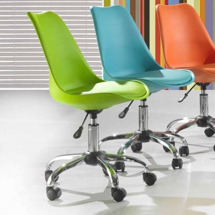 Bureaustoel in gekleurd polypropyleen en metaal - Loredana