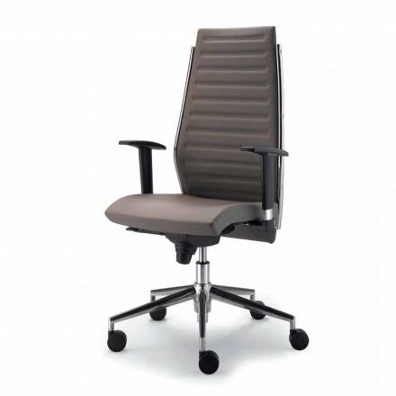 Office Chair met shell in beuken en echte koeienhuid Ester
