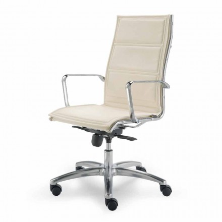 Bureaustoel met monocoque in imitatieleder gemaakt in Italië Agata