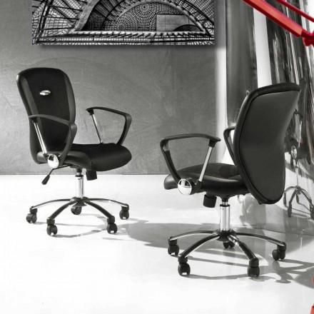 Bureaustoel met roterende wielen in Eco-leer en metaal - Amarilda