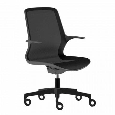 Bureaustoel met zwenkwielen in zwart gaas en zwart nylon - Ayumu