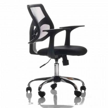 Bureaustoel met roterende wielen, zwart en weefsel - Giovanna