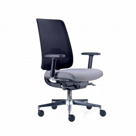 Bureaustoel met zwenkwielen in zwart en stof Tecnorete - Menaleo