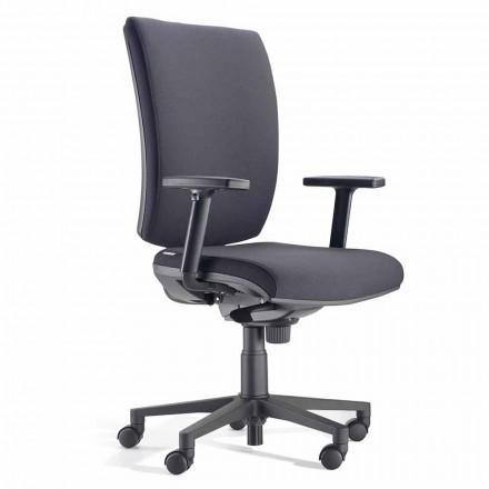 Ergonomische bureaustoel met armleuningen in zwarte stof - Macrino