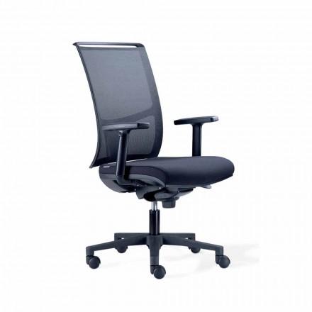 Semi-directionele bureaustoel in Tecnorete en zwarte stof - Vespasiano