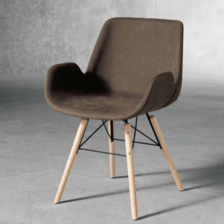 Design stoel in hout en stof gemaakt in Italië Ornica
