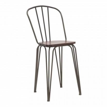 Moderne design stoel in industriële stijl in ijzer en hout, 2 stuks - Erika