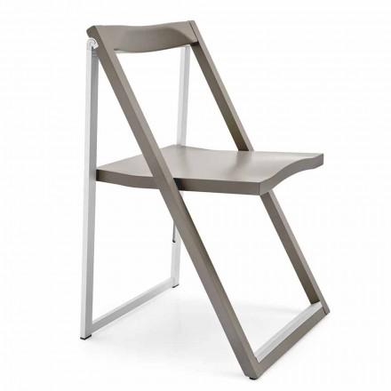 Opklapbare designstoel in aluminium en beukenhout Made in Italy 2 stukken - Skip
