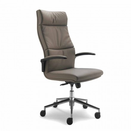 Modern Edda Executive stoel in leder, gemaakt in Italië