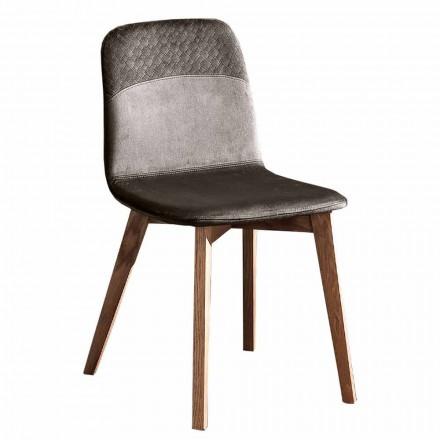 Elegante stoel met modern design in gekleurd fluweel en hout 4 stuks - Bizet