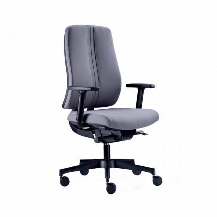 Ergonomische moderne draaibare bureaustoel in zwarte brandwerende stof - Menaleo