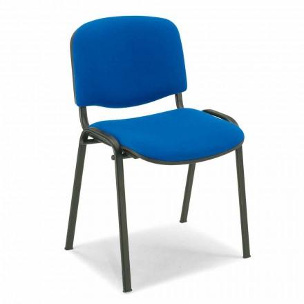 Gestoffeerde stoel voor een wachtkamer met zwart metalen onderstel - Carmela