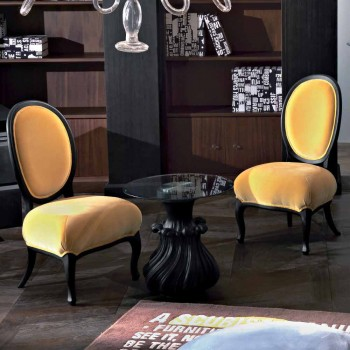Beklede stoel in massief hout gezandstraald zwart, L60xP51cm, Tati