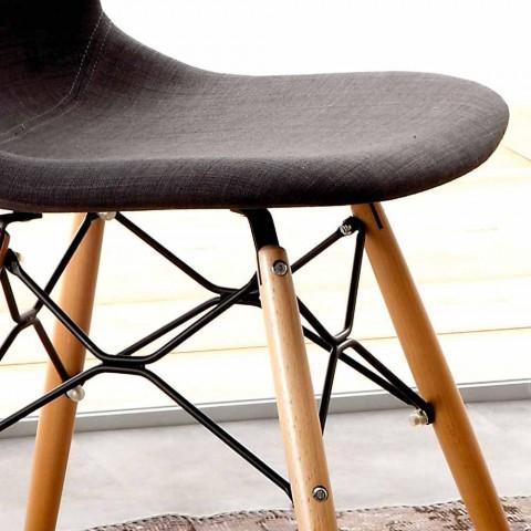 Beklede stoel in massief beukenhout en katoen Chambray Yucca