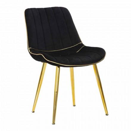 Gestoffeerde stoel voor eetkamerontwerp in hout en stof, 2 stuks - Kolly