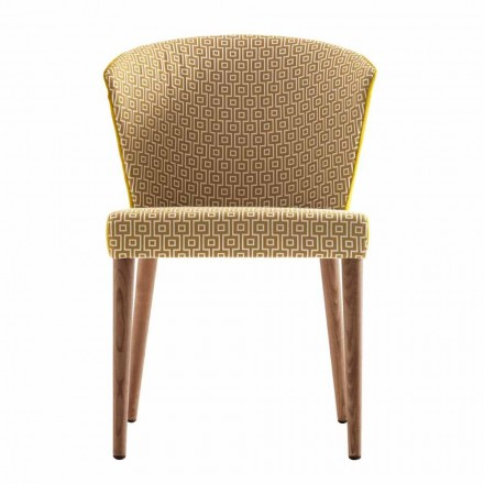 Moderne gewatteerde massief houten stoel Grilli York gemaakt in Italië 2 stukken