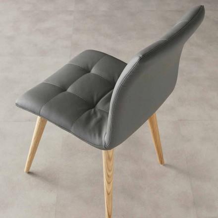 gebeitst hout stoel bekleed met kunstleer Purple