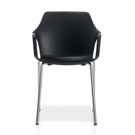 Stapelbare metalen en polypropyleen stoel gemaakt in Italië, 4 stuks - karamel