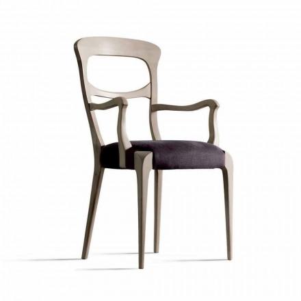 in massief notenhouten stoel met armleuningen en stoelbekleding, Noemy