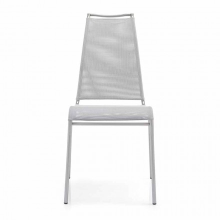 Living Chair met hoge rugleuning in Satin Steel Made in Italy 2 stukken Air High