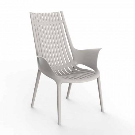 Loungestoel met armleuningen voor buiten in kunststof 4 stuks - Ibiza door Vondom