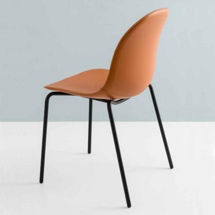 Connubia by Calligaris Academy moderne stoel in metaal en leer