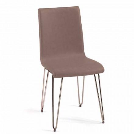 Moderne stoel in leer of kunstleer voor eetkamer of Maha-keuken