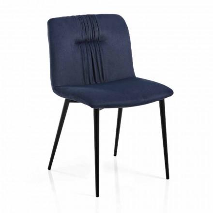 Monocoque stoel in gekleurde stof en zwart metalen design 4-delig - Florinda
