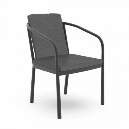 Buitenstoel met armleuningen in aluminium en stof - Sofy van Talenti