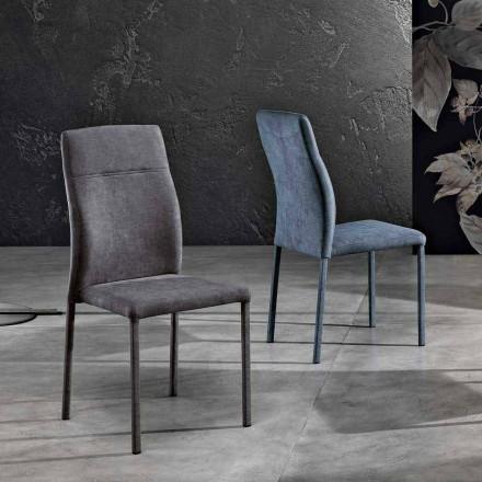 Design stoel in stof voor eetkamer gemaakt in Italië, Luigina
