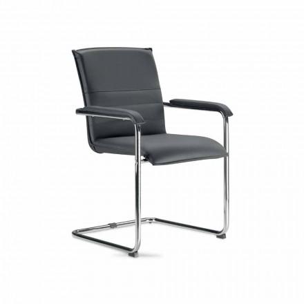 Vergaderzaal stoel of vergaderzaal in zwart en metaal kunstleer - Oberon