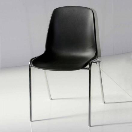 Stoel voor vergaderruimte of moderne vergaderruimte in metaal en zwart ABS - Zetica