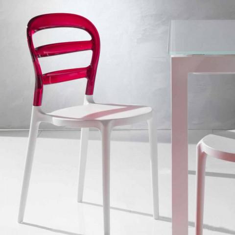 achter stoel gemaakt van polycarbonaat en Modica witte structuur