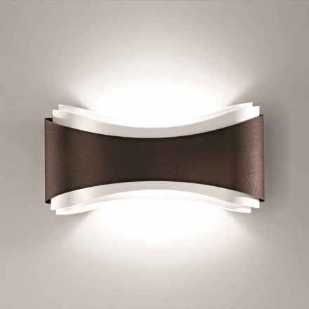 Selene Ionica wandlamp gemaakt in Italië, 40x12H20cm, staal en glas