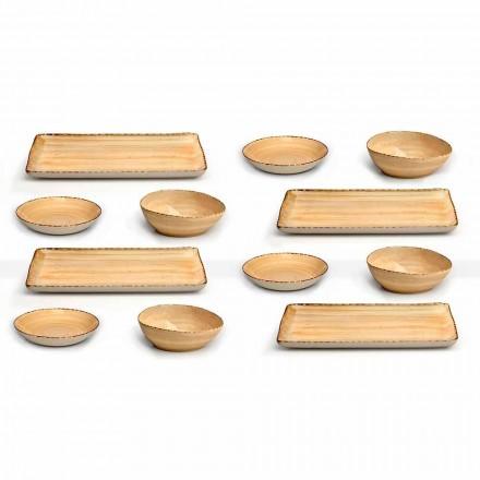 Service 12 rechthoekige en ronde gekleurde steengoedplaten, modern design - Simba