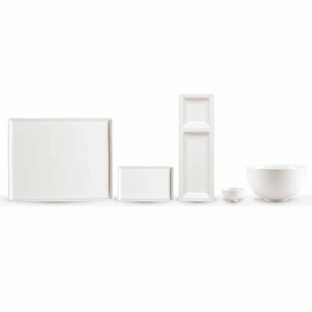 Set van 20 schalen in wit porselein met een modern rechthoekig ontwerp - Laos